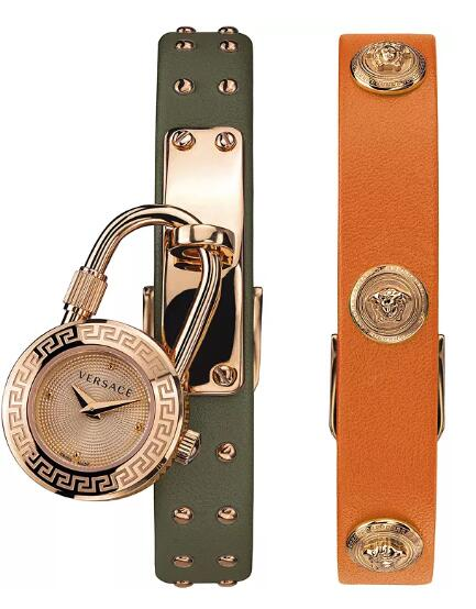 Cheap Versace Women's Swiss Medusa Lock Icon Green & Orange Leather Strap Watch 21.5mm Replica