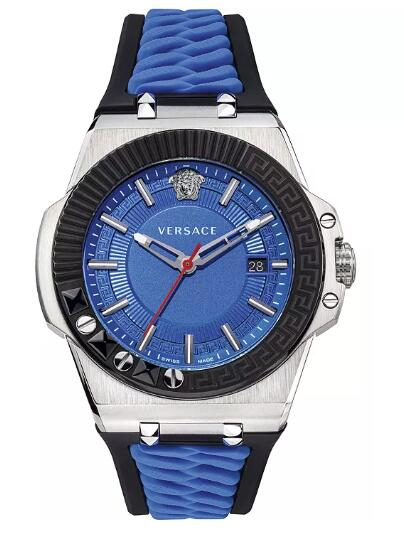 Cheap Versace Men's Swiss Chain Reaction Blue & Black Silicone Strap Watch 45mm Replica