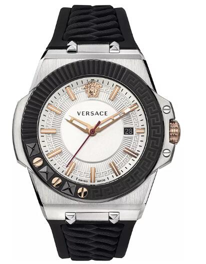 Cheap Versace Men's Swiss Chain Reaction Black Silicone Strap Watch 45mm Replica