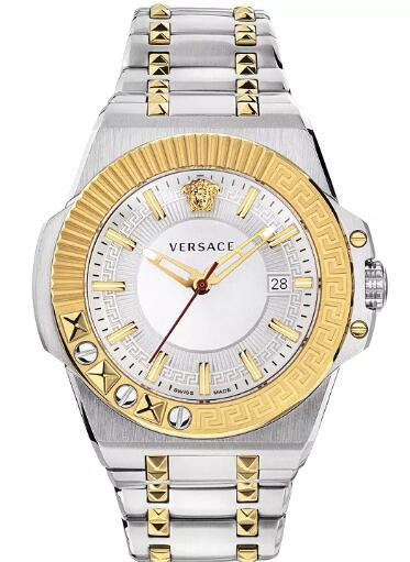 Cheap Versace Men's Swiss Chain Reaction Two-Tone Stainless Steel Bracelet Watch 45mm Replica