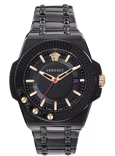 Cheap Versace Men's Swiss Chain Reaction Black Ion-Plated Stainless Steel Bracelet Watch 45mm Replica