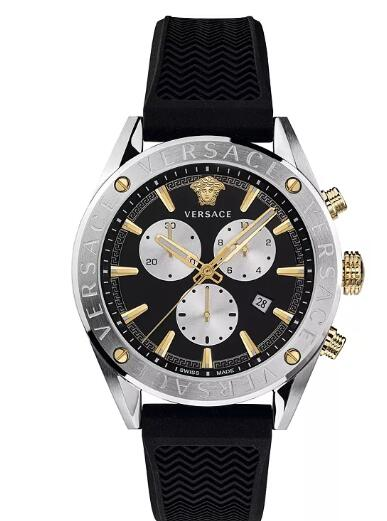 Cheap Versace Men's Swiss V-Chrono Black Silicone Strap Watch 44mm Replica