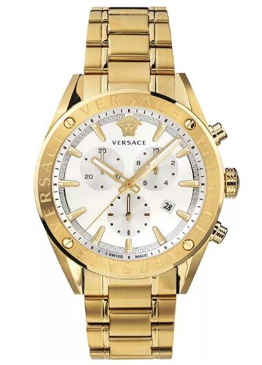 Cheap Versace Men's Swiss V-Chrono Gold Ion-Plated Stainless Steel Bracelet Watch 44mm Replica