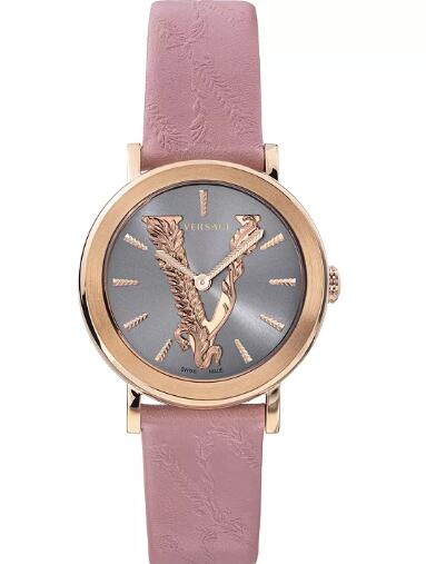 Cheap Versace Women's Swiss Virtus Pink Leather Strap Watch 36mm Replica