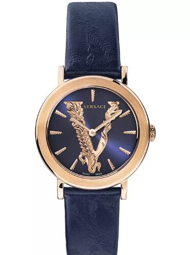 Cheap Versace Women's Swiss Virtus Blue Leather Strap Watch 36mm Replica
