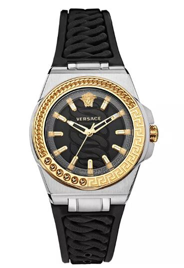 Cheap Versace Women's Swiss Chain Reaction Black Silicone Strap Watch 40mm Replica