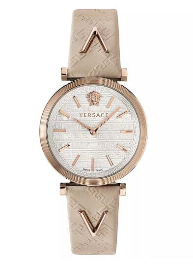 Cheap Versace Women's Swiss V-Twist Ivory Leather Strap Watch 36mm Replica
