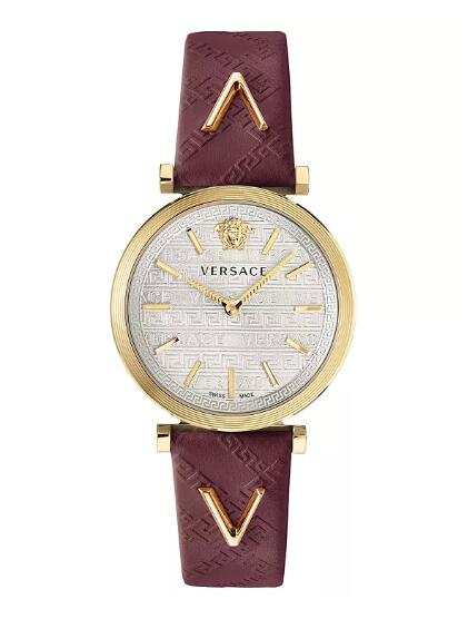 Cheap Versace Women's Swiss V-Twist Burgundy Leather Strap Watch 36mm Replica