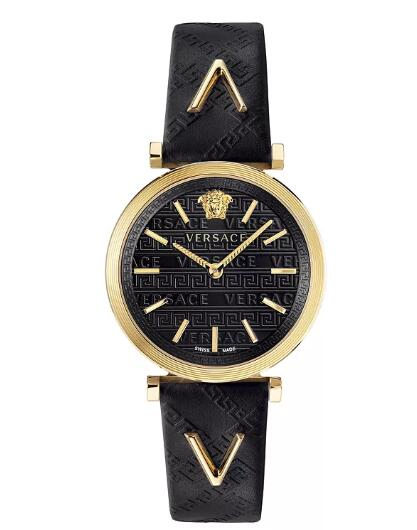 Cheap Versace Women's Swiss V-Twist Black Leather Strap Watch 36mm Replica