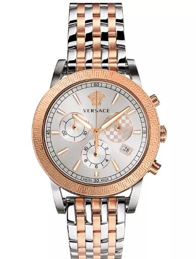 Cheap Versace Men's Swiss Chronograph Sport Tech Two-Tone Stainless Steel Bracelet Watch 40mm Replica