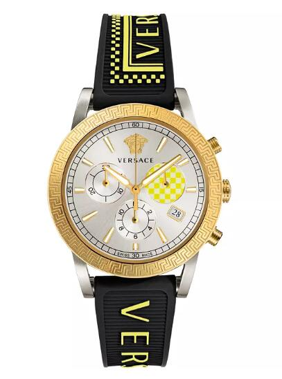 Cheap Versace Men's Swiss Chronograph Sport Tech Black Silicone Strap Watch 40mm Replica