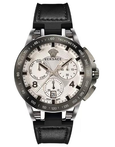 Cheap Versace Men's Swiss Chronograph Sport Tech Black Rubber Strap Watch 45mm Replica