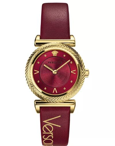 Cheap Versace Women's Swiss V-Motif Vintage Logo Red Leather Strap Watch 35mm Replica