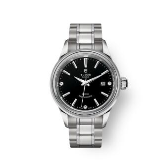 Buy Tudor Style Watch Review Replica 28 mm steel case Diamond-set dial m12100-0004