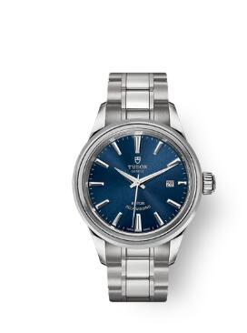 Buy Tudor Style Watch Review Replica 28 mm steel case Blue dial m12100-0009