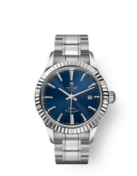 Buy Tudor Style Watch Review Replica 28 mm steel case Blue dial m12110-0013