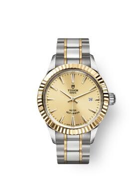 Buy Tudor Style Watch Review Replica 28 mm steel case Yellow gold bezel m12113-0001
