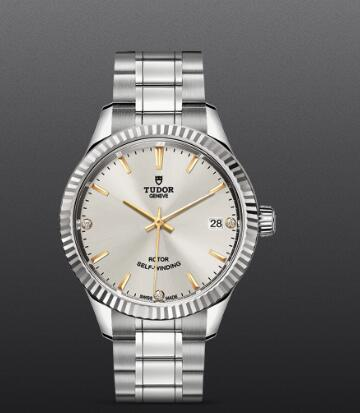 Tudor Style Swiss Replica Watch 34MM Steel Case diamond-set dial m12310-0011