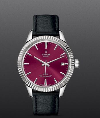 Tudor Style Swiss Replica Watch 34MM Steel Case burgundy dial m12310-0028