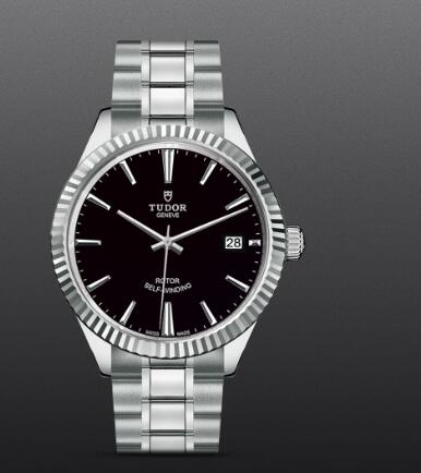 Tudor Style Swiss Fake Watch 38mm steel case black dial m12510-0003