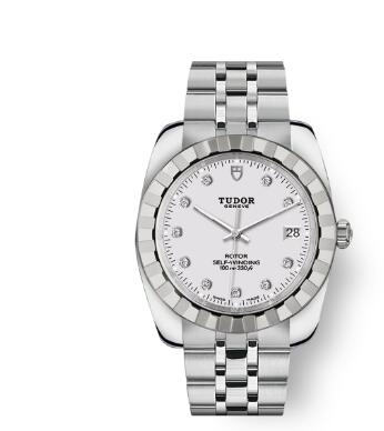 Tudor Classic Date Watch Replica 38 mm steel case White diamond-set dial m21010-0015