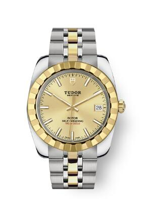 Tudor Classic Date Watch Replica 38 mm steel case Yellow gold bezel m21013-0002