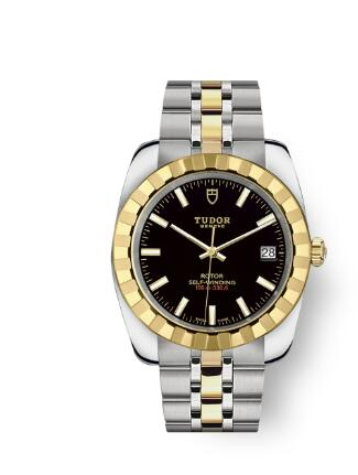 Tudor Classic Date Watch Replica 38 mm steel case Yellow gold bezel m21013-0003