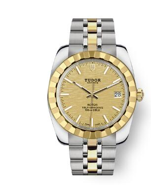 Tudor Classic Date Watch Replica 38 mm steel case Yellow gold bezel m21013-0008