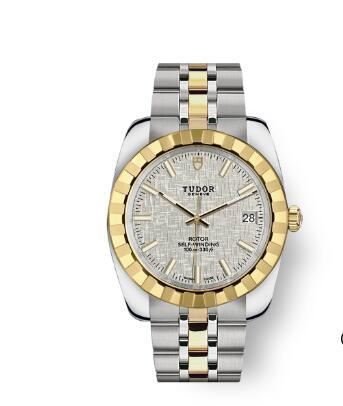 Tudor Classic Date Watch Replica 38 mm steel case Yellow gold bezel m21013-0011