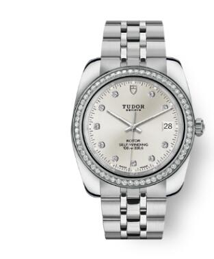 Tudor Classic Date Watch Replica 38 mm steel case Diamond-set dial m21020-0005