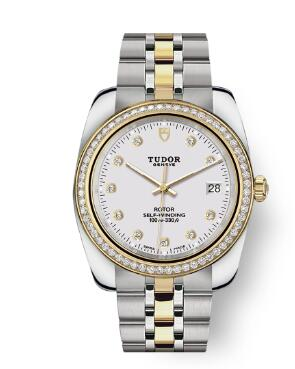 Tudor Classic Date Watch Replica 38 mm steel case White diamond-set dial m21023-0002