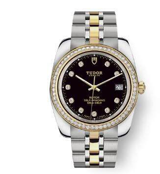 Tudor Classic Date Watch Replica 38 mm steel case Diamond-set dial m21023-0008
