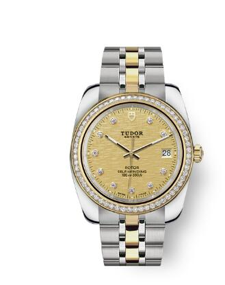 Tudor Classic Date Watch Replica 38 mm steel case Diamond-set dial m21023-0010