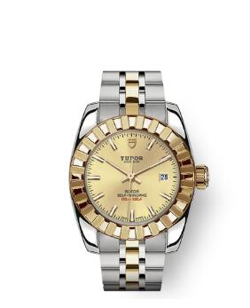 Tudor Classic Date Watch Replica 28 mm steel case Yellow gold bezel m22013-0002
