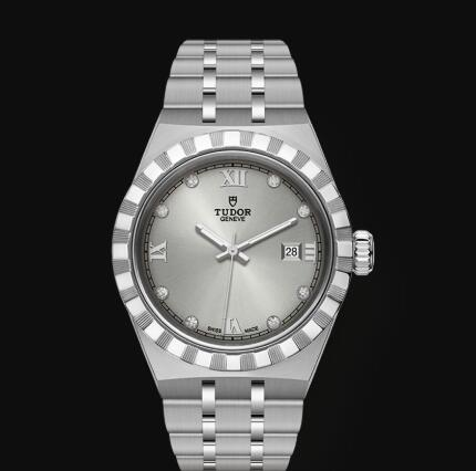New Tudor Royal Watch Cheap Price 28 mm steel case Diamond-set dial Replica watch m28300-0002