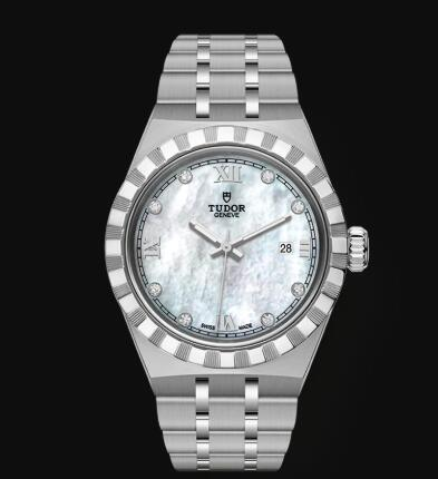 New Tudor Royal Watch Cheap Price 28 mm steel case Diamond-set dial Replica watch m28300-0005