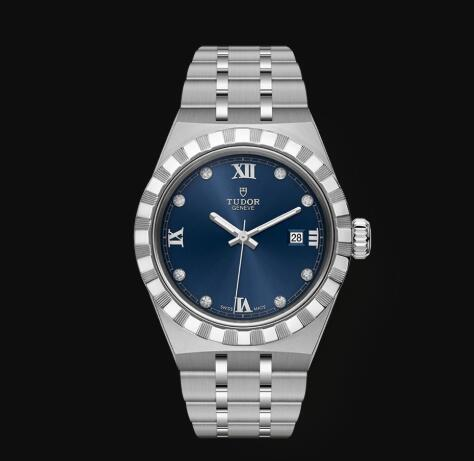 New Tudor Royal Watch Cheap Price 28 mm steel case Diamond-set dial Replica watch m28300-0007