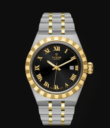 New Tudor Royal Watch Cheap Price 28 mm steel case Yellow gold bezel Replica watch m28303-0003