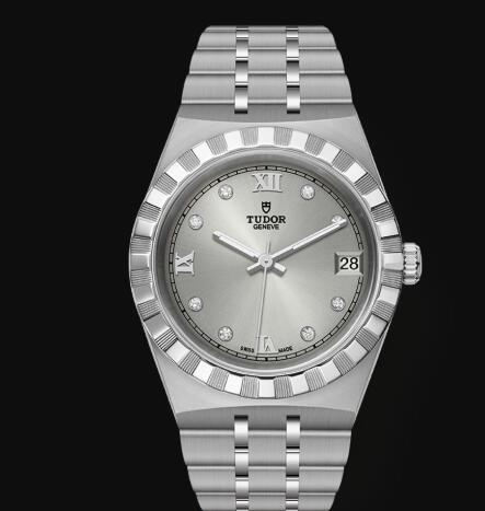 New Tudor Royal Watch Cheap Price 34 mm steel case Diamond-set dial Replica watch m28400-0002