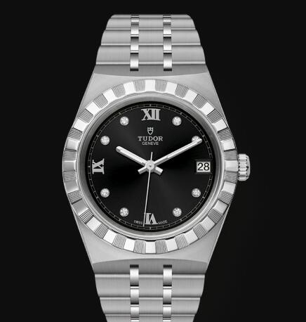New Tudor Royal Watch Cheap Price 34 mm steel case Diamond-set dial Replica watch m28400-0004