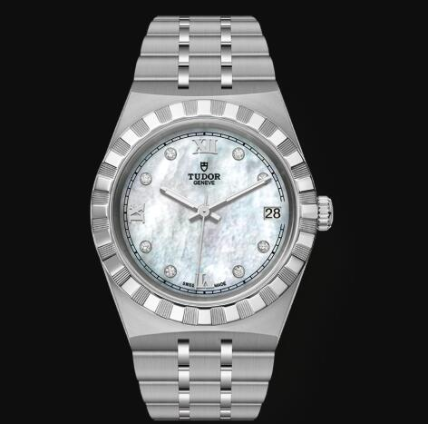 New Tudor Royal Watch Cheap Price 34 mm steel case Diamond-set dial Replica watch m28400-0005