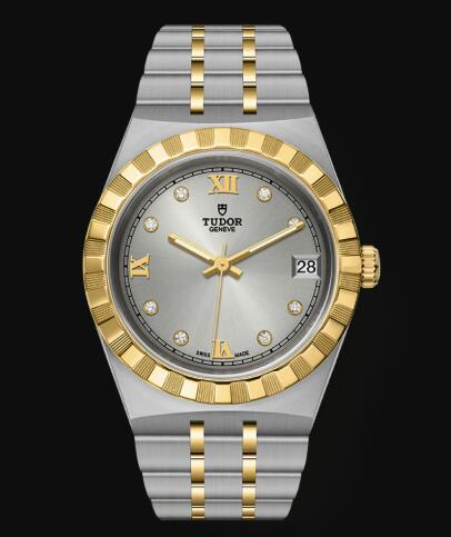 New Tudor Royal Watch Cheap Price 34 mm steel case Diamond-set dial Replica watch m28403-0002