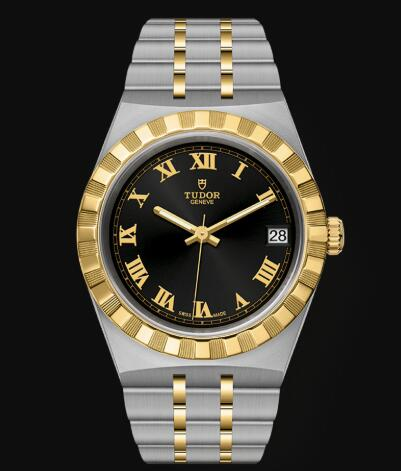 New Tudor Royal Watch Cheap Price 34 mm steel case Yellow gold bezel Replica watch m28403-0003