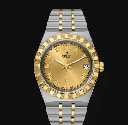 New Tudor Royal Watch Cheap Price 34 mm steel case Yellow gold bezel Replica watch m28403-0004