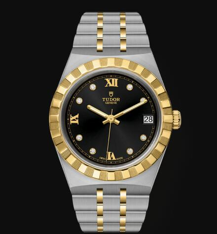 New Tudor Royal Watch Cheap Price 34 mm steel case Diamond-set dial Replica watch m28403-0005