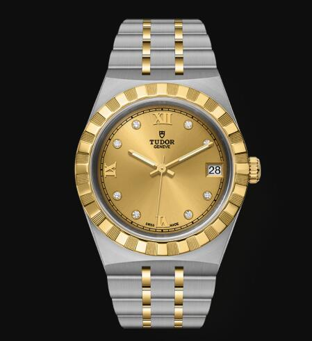New Tudor Royal Watch Cheap Price 34 mm steel case Diamond-set dial Replica watch m28403-0006