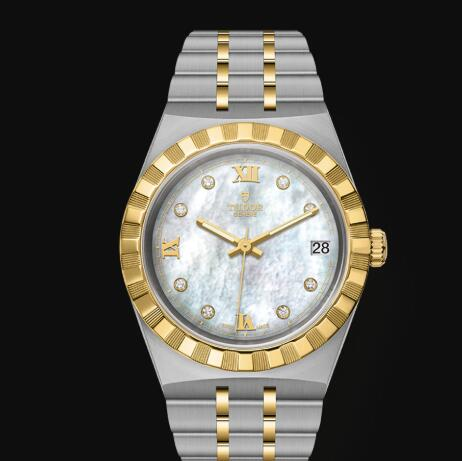 New Tudor Royal Watch Cheap Price 34 mm steel case Diamond-set dial Replica watch m28403-0007