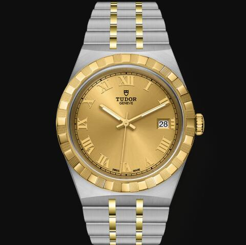 New Tudor Royal Watch Cheap Price 38 mm steel case Yellow gold bezel Replica watch m28503-0003