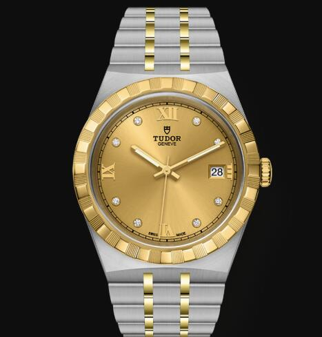 New Tudor Royal Watch Cheap Price 38 mm steel case Diamond-set dial Replica watch m28503-0005