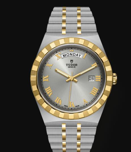 New Tudor Royal Watch Cheap Price 41 mm steel case Yellow gold bezel Replica watch m28603-0001